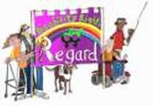 Image of a group of lgbt disabled people with regard banner